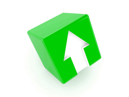 3D green cube with an arrow pointing up. Concept illustration illustration