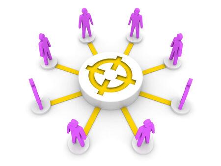 common target: Team target Common goal Concept 3D illustration.