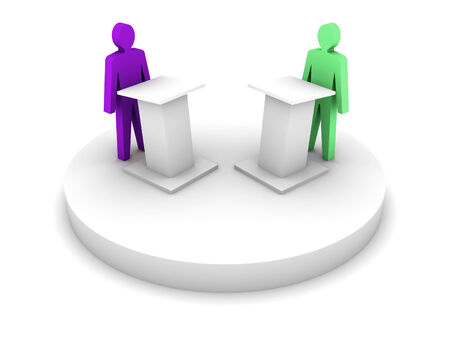 confrontation: Debate Speaking from a tribune, confrontation. Concept 3D illustration. Stock Photo