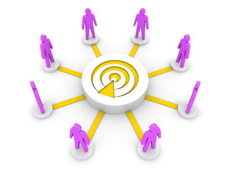 listeners: Team broadcast Podcast listeners Concept 3D illustration.