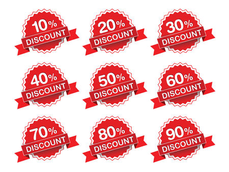 price reduction: Discount percent sticker price tags