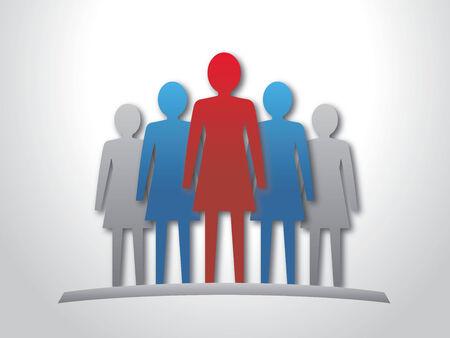 Vrouw leider en haar team Stock Illustratie