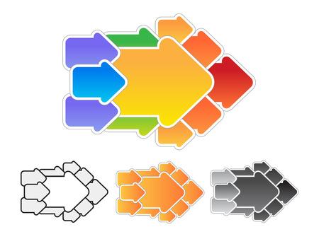 Arrow consisting of arrows. Vector concept illustration. Vector