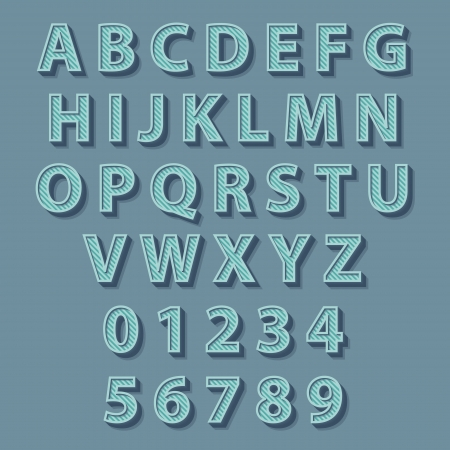 レトロなスタイルのアルファベット。ベクトルの概念図。