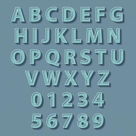 Retro style alphabet. Vector concept illustration. Иллюстрация
