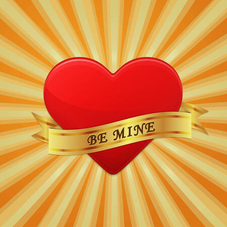 be mine: Heart with ribbon and phrase Be Mine.
