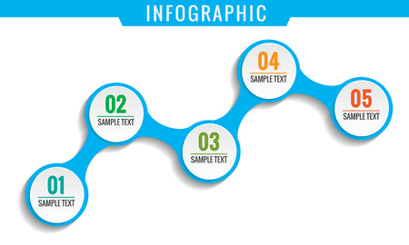 Simply infographic, five steps template. Illustration