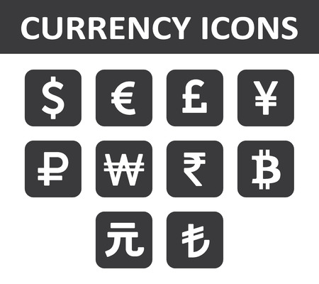 rupee: Currency Icons Set. White over black.