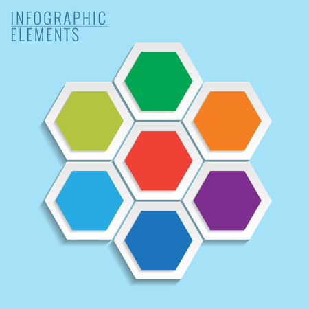 Infographic with honeycomb structure on the blue background.  Vector
