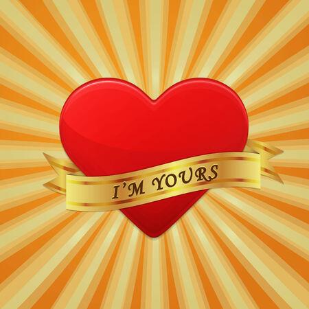 메달: 리본 문구 내가 너의 건가요와 함께 심장입니다.