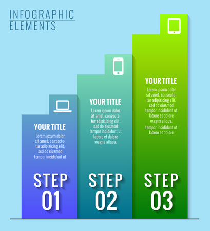Infographic elements. Three steps to success.