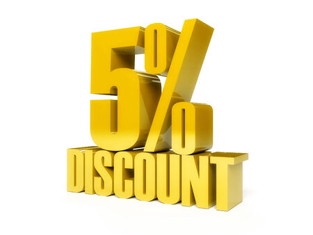 5 percent discount. Golden shiny text. Concept 3D illustration. illustration