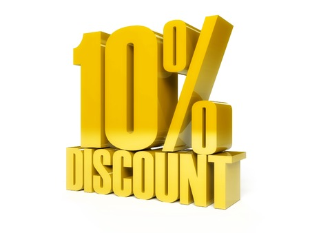 10 percent discount in Golden shiny text photo