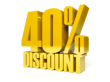 40 percent discount. Golden shiny text. Concept 3D illustration. illustration