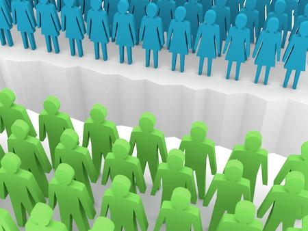 separation: Men and women split on sides, separation crack