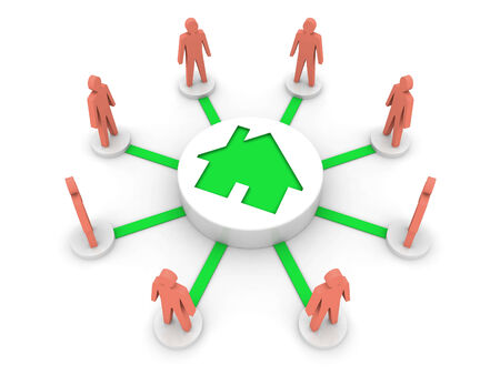 hostel: House problem connects people. Hostel. Concept 3D illustration. Stock Photo