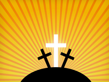 rising dead: Silhouettes of crosses against a sunset sky. Easter background  Illustration