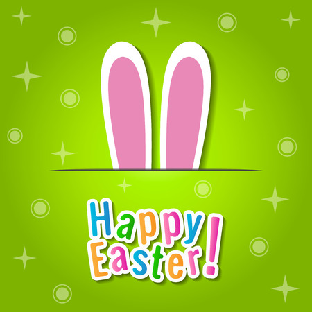 easter background: Happy Easter greeting card with bunny ears.