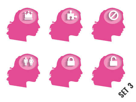 Silhouettes of womens heads with different objects. Set 3. Concept vector illustration. Vector