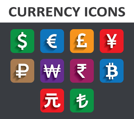 gbp: Currency Icons Set with shadow Illustration
