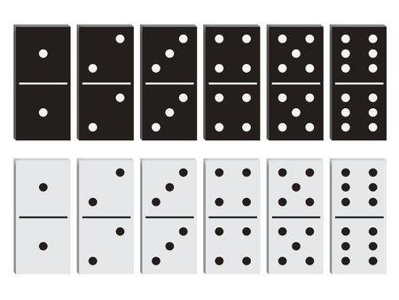 dominoes: Domino black and white set illustration.