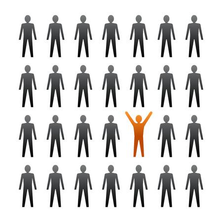 Unieke persoon in de menigte. Vector illustratie Stockfoto - 28525407