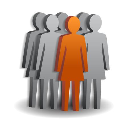 Vrouw leider en haar team. Vector illustratie