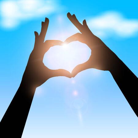 Love shape hand silhouette in sky. Concept vector illustration Banco de Imagens - 29415829