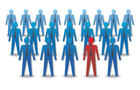 Unusual person in the crowd. Leadership. Vector illustration