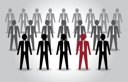 Unusual person in the crowd. Leadership. Vector illustration Vector