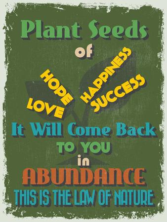 abundance: Retro Vintage Motivational Quote Poster Illustration