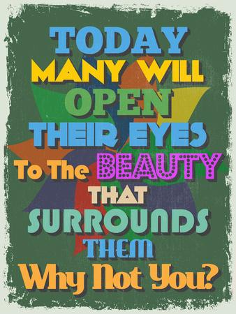 open type font: Retro Vintage Motivational Quote Poster Illustration