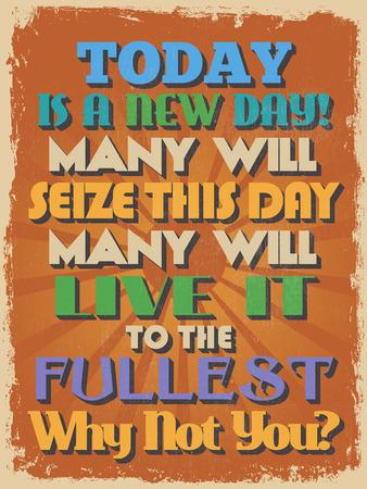 seize: Retro Vintage Motivational Quote Poster Illustration