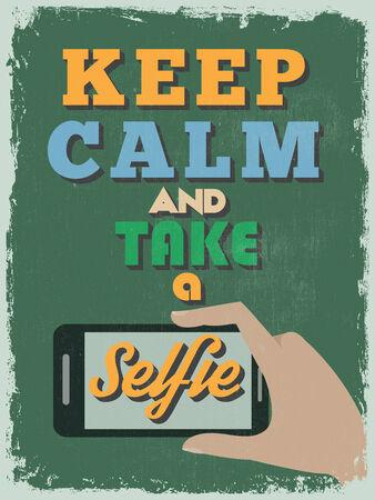 selfie: Retro Vintage Motivational Quote Poster.  Illustration