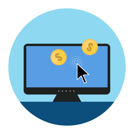 click icon: Pay Per Click Icon. Flat style illustration. Isolated in colored circle on white background.  Illustration