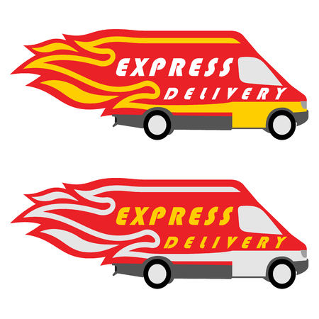 express delivery: Express Delivery Symbols. Yellow-Red and Yellow-Silver Variations. Vector illustration