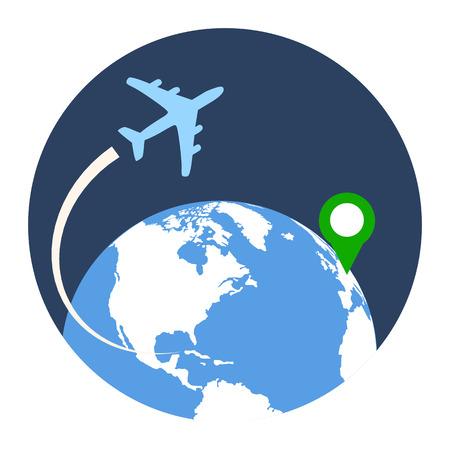 business travel: Business Travel Icon. Wohnung Stil Abbildung. Isoliert in farbigen Kreis auf wei�em Hintergrund. Illustration