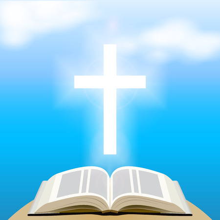 Bible and shining cross over blue sky. Vector Illustration Иллюстрация