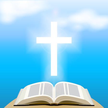 Bijbel en lichtend kruis over blauwe hemel. Vector Illustratie