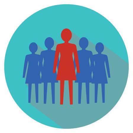 simbolo de la mujer: Mujeres concepto de liderazgo. Mujeres equipo. Ilustraci�n del vector. Vectores