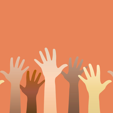 racial: Hands raised up. Concept of volunteerism, multi-ethnicity, equality, racial and social issues. Horizontally seamless.