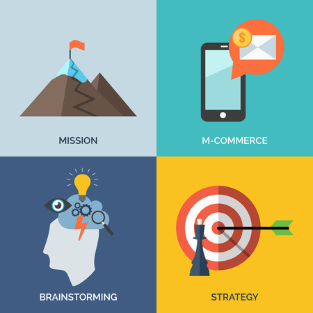 Conjunto de iconos del concepto de diseño de planos para las empresas. Misión, m-commerce, Tormenta de ideas y Estrategia. Ilustración del vector.