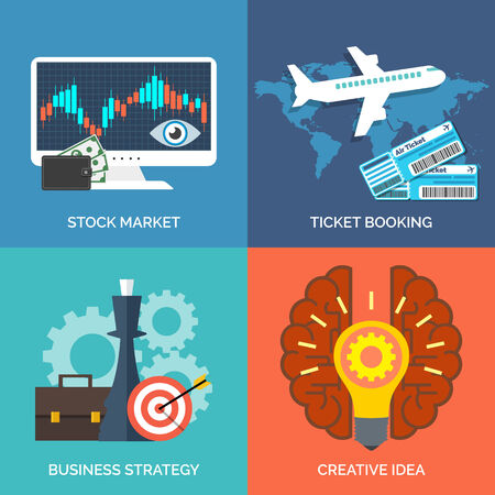 stock illustration: Set of flat design concept icons for business. Stock market, Ticket booking, Business strategy and Creative idea. Vector Illustration.