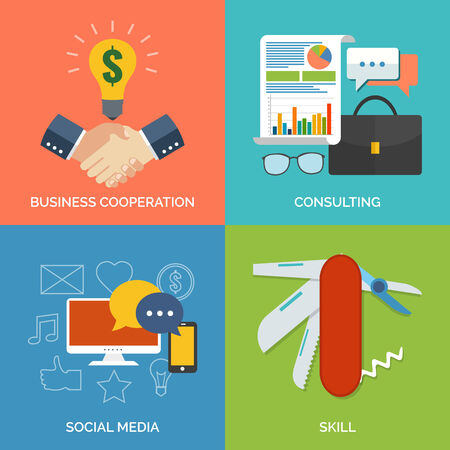 Set of flat design concept icons for business. Business cooperation, Consulting, Social media and Skill. Vector Illustration. Vector