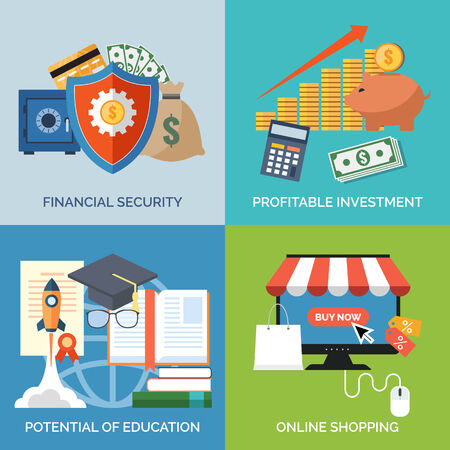 potential: Set of flat design concept icons for business. Financial security, Profitable investment, Potential of education and Online shopping. Vector Illustration. Illustration