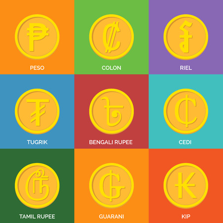 riel: Flat Golden Coins. Currency Icons. Vector illustration. Illustration