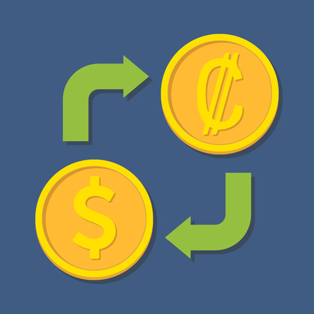 colon: Currency exchange. Dollar and Colon. Vector illustration