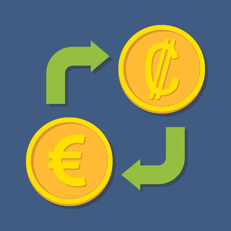 colon: Currency exchange. Euro and Colon. Vector illustration Illustration