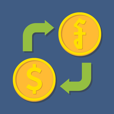 riel: Currency exchange. Dollar and Riel. Vector illustration