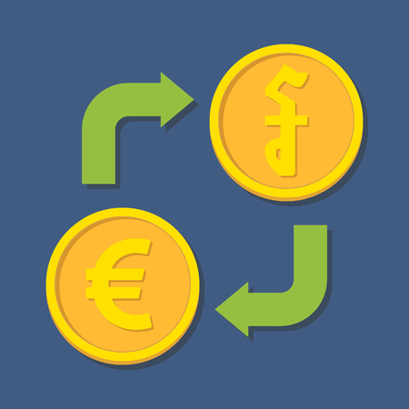 riel: Currency exchange. Euro and Riel. Vector illustration Illustration